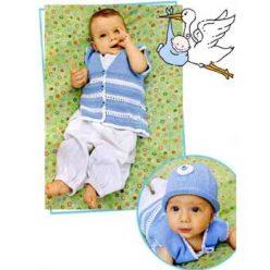 Вязание для малышей. Жилет и шапочка спицами