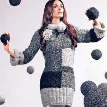 Вязание для женщин. Платье спицами крупной вязки