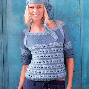 Вязание для женщин. Пуловер спицами реглан с бретелями