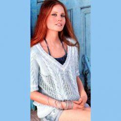 Вязание для женщин. Пуловер с V-образным вырезом спицами