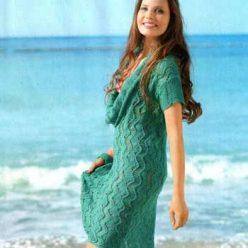 Вязание для женщин. Узорчатое платье спицами