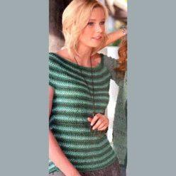 Вязание для женщин. Полосатый пуловер спицами с круглой кокеткой