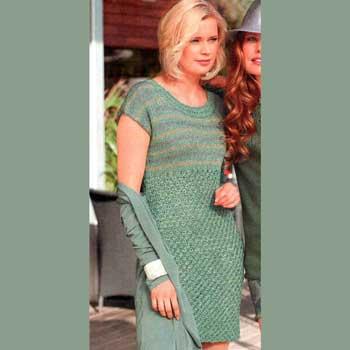 Вязание для женщин. Платье спицами с полосатым верхом