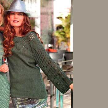 Вязание для женщин. Ажурный пуловер спицами с круглой кокеткой