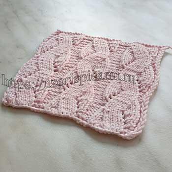 Простой ажурный узор спицами для пуловера, топа, схема узора