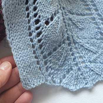 Красивые ажурные листики спицами, схема узора