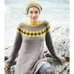 Вязание для женщин. Туника спицами с круглой кокеткой и шапка спицами