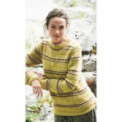 Вязание для женщин. Горчично-желтый пуловер спицами с воротником-стойкой