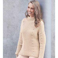 Вязание для женщин. Пуловер спицами с диагональным полупатентным узором
