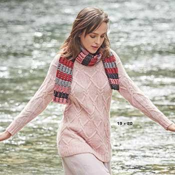 Вязание для женщин. Удлиненный пуловер спицами с узором из «кос» и шарф