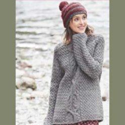 Пуловер покроя реглан с «косами» и шапка