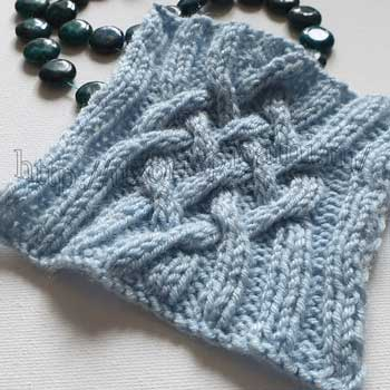 Красивый аран спицами для пуловера на резинке, схема узора