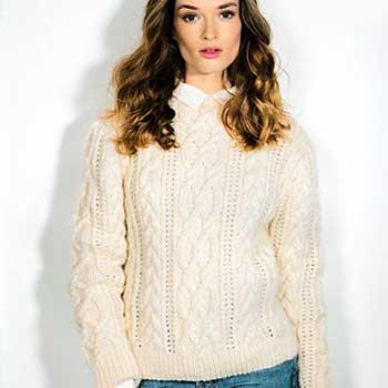 Вязание для женщин. Пуловер с косами спицами