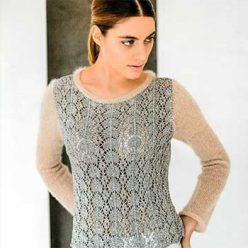 Вязание для женщин. Ажурный легкий пуловер спицами