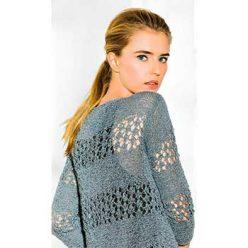Вязание для женщин. Пуловер с ажурными полосками спицами