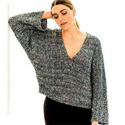 Вязание для женщин. Пуловер - кимоно лицевой гладью спицами