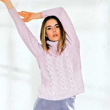 Вязание для женщин. Пуловер с объемными косами