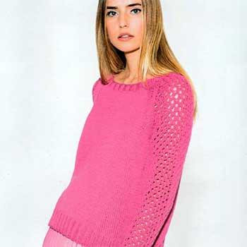 Вязание для женщин. Пуловер спицами реглан с ажурными рукавами
