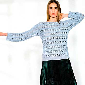 Вязание для женщин. Пуловер связанный поперек спицами