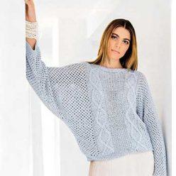 Вязание для женщин. Пуловер Летучая мышь спицами