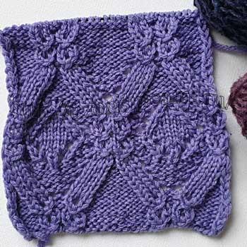 Красивые ажурные ромбы спицами, узор для пуловера, джемпера, схема узора