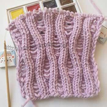Необычный ажурный узор спицами для топа, шарфа, схема узора
