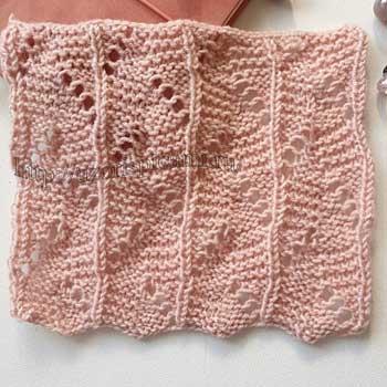Интересный ажурный узор спицами для палантина, шарфа, схема узора