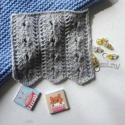 Рельефный узор спицами для шарфа, топа, схема узора