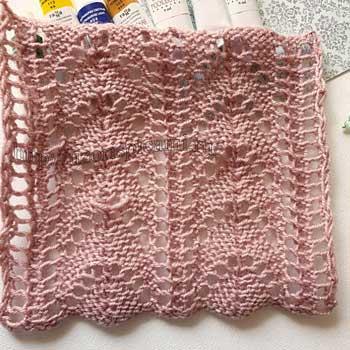 Красивый ажурный узор спицами для пуловера, летнего топа, схема узора