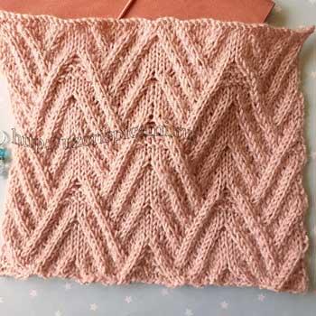Красивый рельефный узор спицами для пуловера, шарфа, схема узора