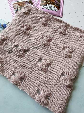Необычный простой узор спицами для пуловера, жакета, схема узора