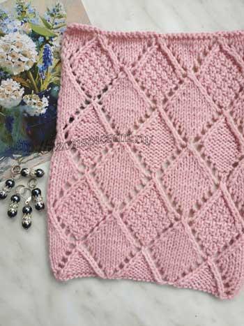 Красивые ромбы спицами, узор для пуловера, джемпера, схема узора