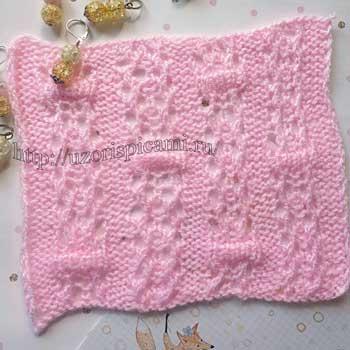 Интересный ажурный узор спицами для пуловера, палантина, схема узора