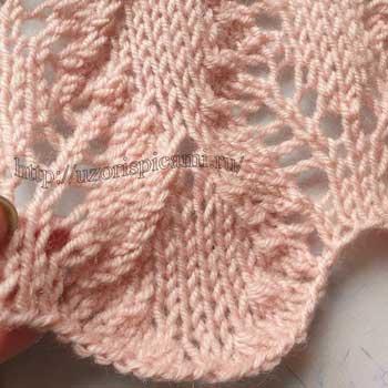 Красивый ажурный узор спицами для жакета, палантина, схема узора
