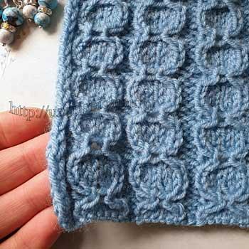 Простой узор спицами вертикальные полоски для шарфа, палантина, схема узора