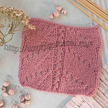Простой узор спицами для пуловера, схема узора