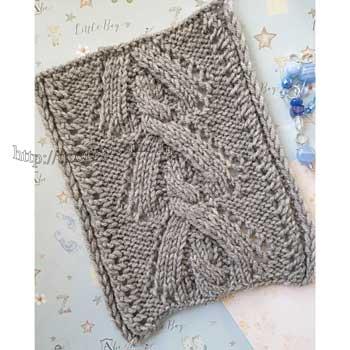 Красивый узор с косой спицами для пуловера, схема узора