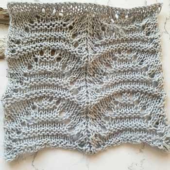 Простой ажурный узор спицами для пуловера, палантина, схема узора
