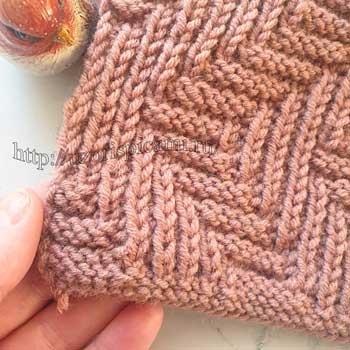 Плотный рельефный узор спицами для шарфа, пуловера, схема узора