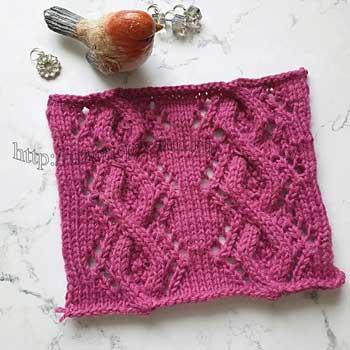 Рельефный ажурный узор спицами с косами для пуловера, схема узора
