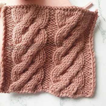 Простая коса на 12 петель спицами для варежки, пуловера, схема узора