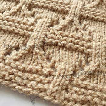 Простой рельефный узор спицами для жакета от uzorispicami