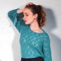 Вязание для женщин. Пуловер ажурным рисунком из мохера, описание