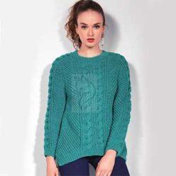 Вязание для женщин. Стильный пуловер с косами спицами, описание