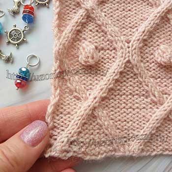 Красивый рельефный узор спицами для пуловера, схема от uzorispicami