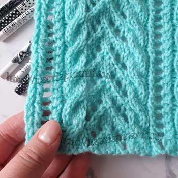 Простой и красивый ажурный узор спицами для кофты, схема узора