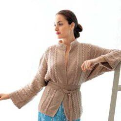 Вязание для женщин. Кардиган спицами с косами, описание и схема