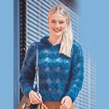 Вязание для женщин. Пуловер спицами из двух видов пряжи