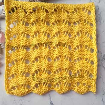 Простой и красивый ажурный узор спицами, схема узора