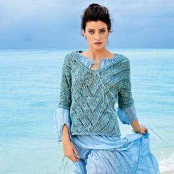 Вязание для женщин. Пуловер спицами с ромбами и диагональными полосами